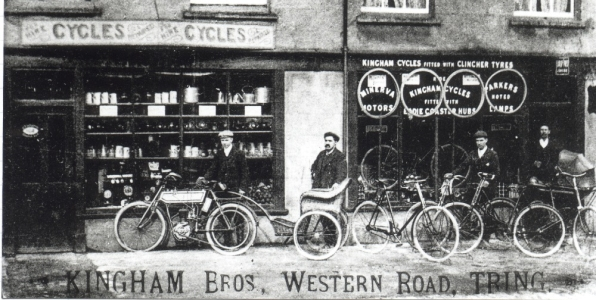 Kinghams cycle shop in Tring around one hundred years ago